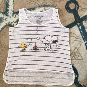 Mighty Fine Peanuts Sheer Tank Top Large